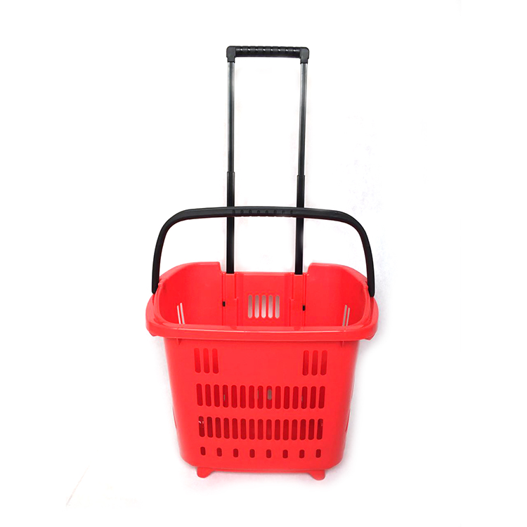 Hot sale custom plastic shopping trolley basket with wheels