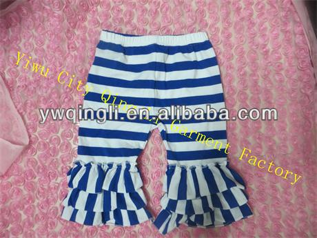 Newest Baby Girl Capri Pants Cute Cotton Stripe Three Ruffles Shorts for Girls