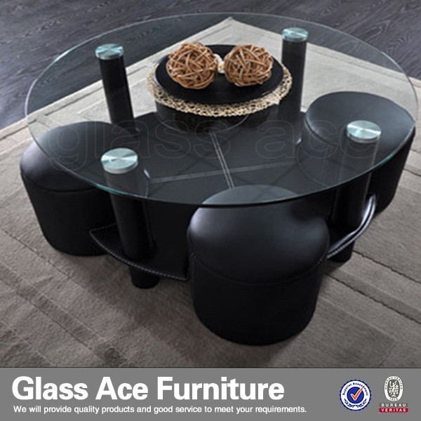 New Style Entertainment Round Glass Coffee Table with Leather Stools