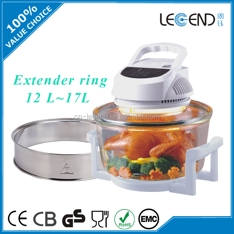 Digital control electric convection halogen Oven with extender ring