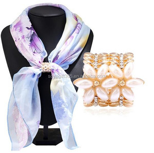 Women Jewelry Flower Scarf Buckle Hand Painting Diamond Shawl Scarves Clips Ring Cylinder Brooch