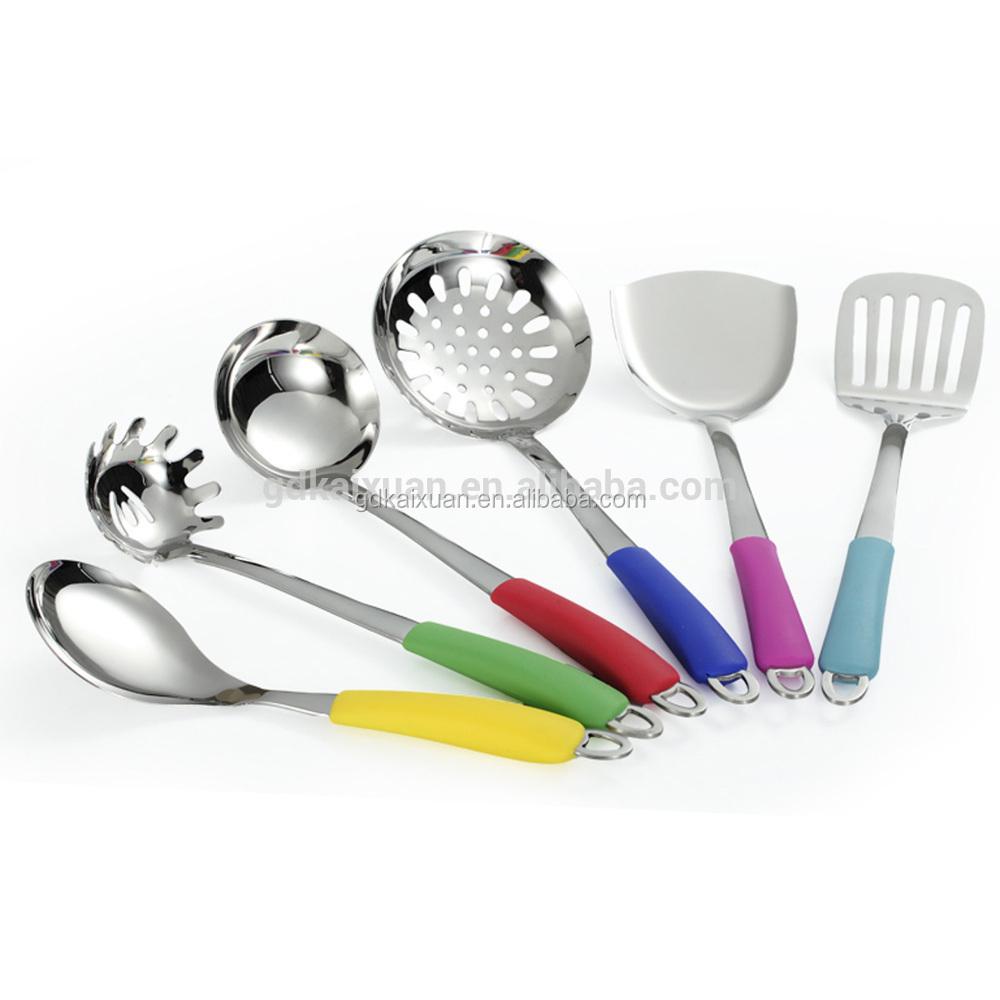 Acero inoxidable mango de silicona utensilios de cocina herramientas de cocina set utensilios - Utensilios de cocina de silicona ...