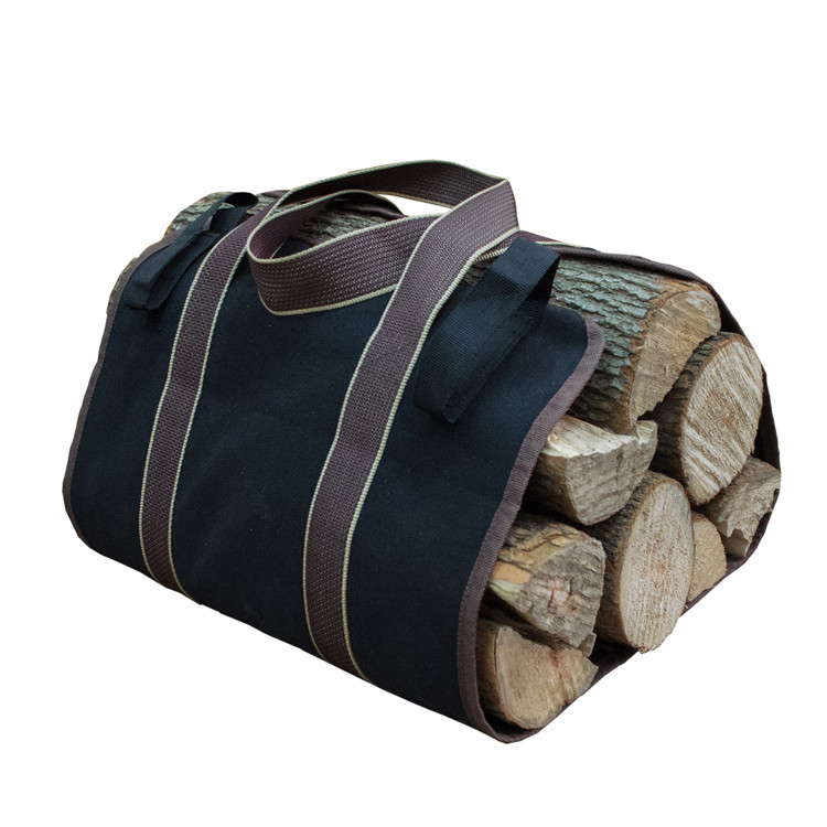 Large Firewood Tote Log Carrier Holders Fireplace Stove Accessories Khaki