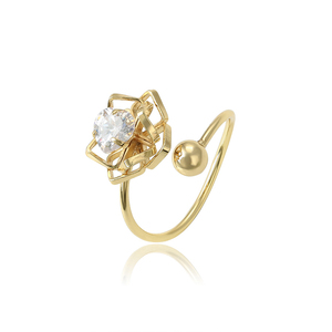 15656 xuping flexible gold plated single heart shape artificial diamond women ring