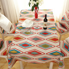 American style protective custom logo classic Geometric linen printed rectangular dining table cloth