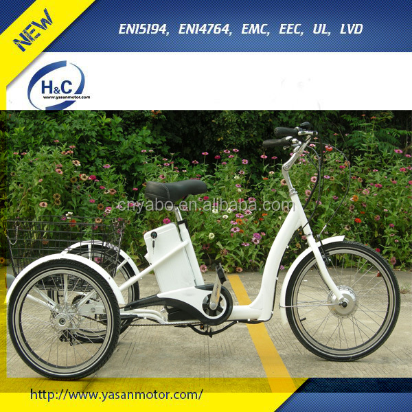 "22"" Alloy 36V 250W 3 wheel Adults electric bike with rear basket for sale"