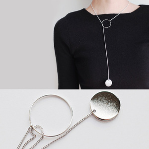 Simple cold style ring 925 sterling silver long necklace sweater chain