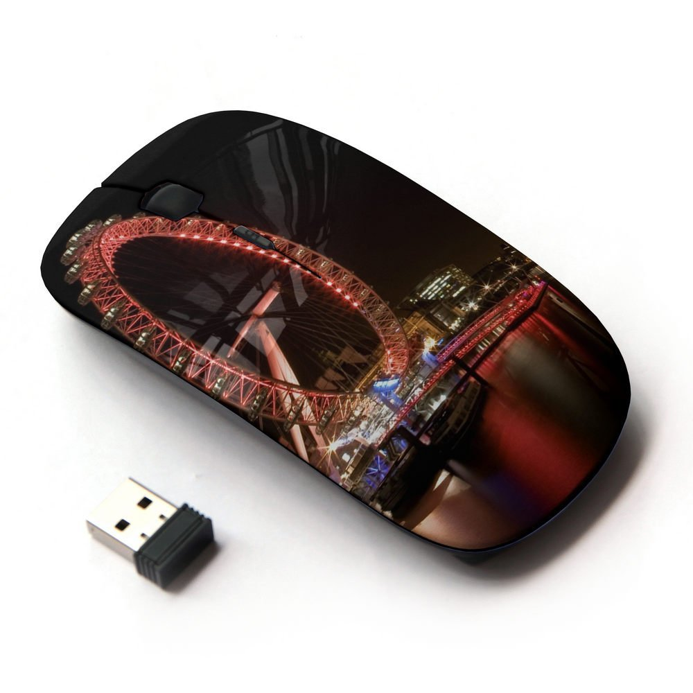 XP-Tech [ Slim Optical 2.4G Wireless Mouse Mice With Nano Receiver for PC Desktop Computer Laptop ] - City Night Scenes