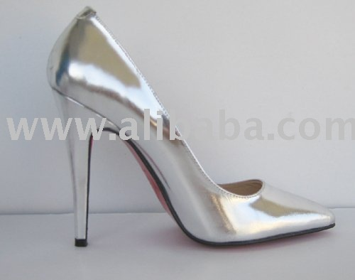 heel metallic Silvery point leather white toe pumps 5XSSqawr