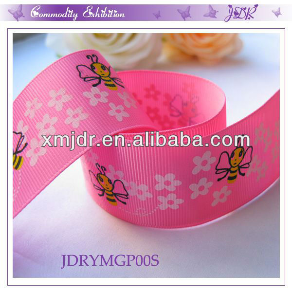 Cute Cartoon Bees And Flower Printed Pink Grosgrain Ribbon