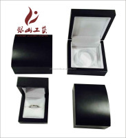 Luxury custom logo printed gift velvet paper wooden jewelry box