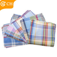 Custom Colorful Silk Fabric Printed Plaid Mens Handkerchief