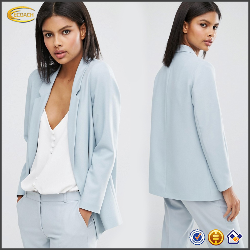 Elegant women formal clothing Open front Notch lapel office jackets Tailored styles crepe outer jacket with Padded shoulders