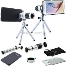 Free Ship/12X Optical Zoom Telescope Objective Clip Camera Smartphone Lens+Hard Cover Case For Samsung Galaxy S6/S6EAGE/S5/NOTE4