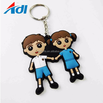 custom high quality 3d or 2d rubber cute japanese doll pvc keychain