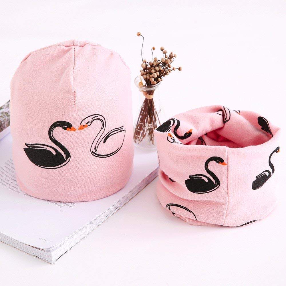 Jshuang Cartoon Swan Childs Hat Collar Suit,Fashion Baby Cute Winter Kids Baby Hats Keep Warm Set Cute Baby Scarf,Fit for 7-36 Month (Pink)