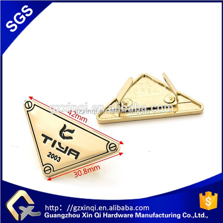 Xinqi handbag hardware triangle bag custom metal <strong>logo</strong> for handbags