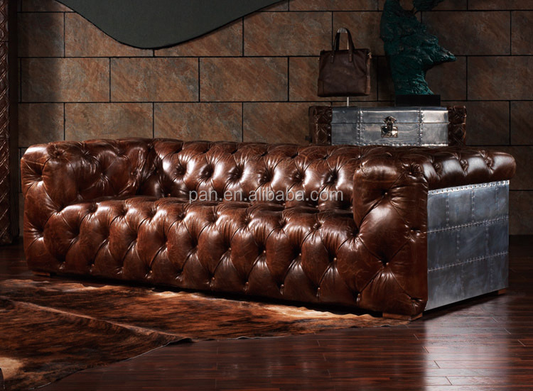Foshan Furniture Riveted Metallic Surface Steampunk Sofa