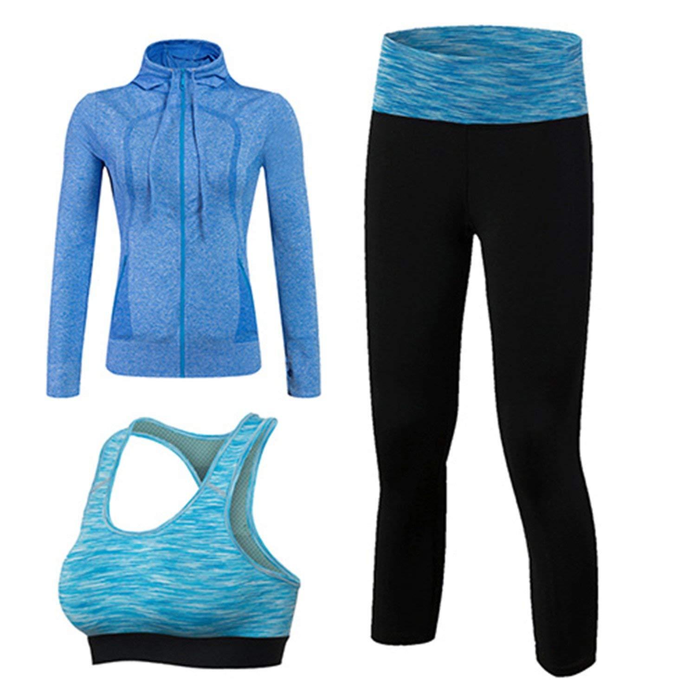 Pajamasea Women Quick Dry Workout Sport Suit 3Pcs Yoga Sets(Jacket+Pant+Bra) Jogging Suit