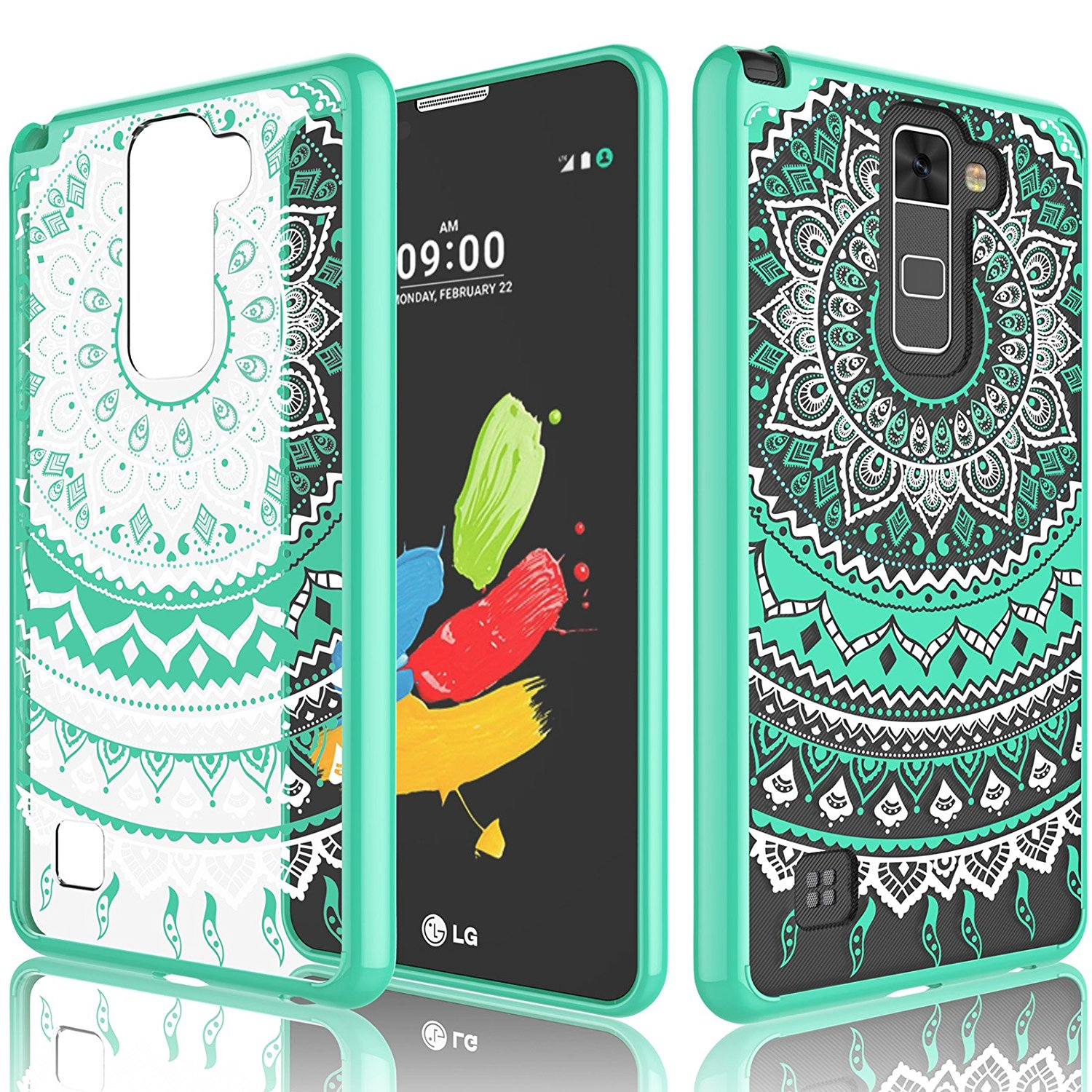 LG Stylus 2 Case, LG Stylo 2 Plus Case For Girls, Tekcoo [TFlower] Transparent Cute Lovely Adorable Ultra Thin Clear Hard TPU Skin Scratch-Proof Bumper Cases For LG Stylo 2 / Stylus 2V -Turquoise