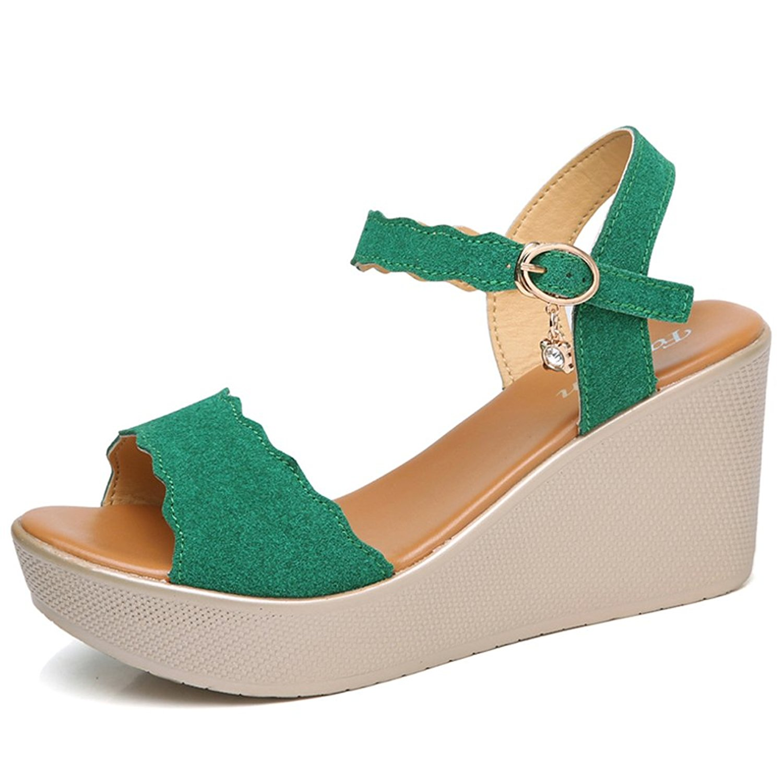 750051bfbf6 HKR Women Open Peep Toe Ankle Strap Platform Wedge Sandals Mary Jane T-Strap  Summer