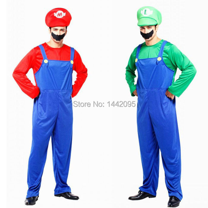3a8fe7ceeec1 Get Quotations · Adult Super Mario Cosplay Game Costume Halloween Christmas Costume  Super Mario Bros. Men Carnival Costume