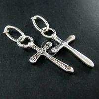 23x39mm vintage style antiqued silver brass rhinestone cross pendant charm with two rings DIY supplies 1830058