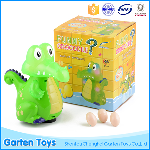 Top quality educational kids lay egg electric carton plastic crocodile toy