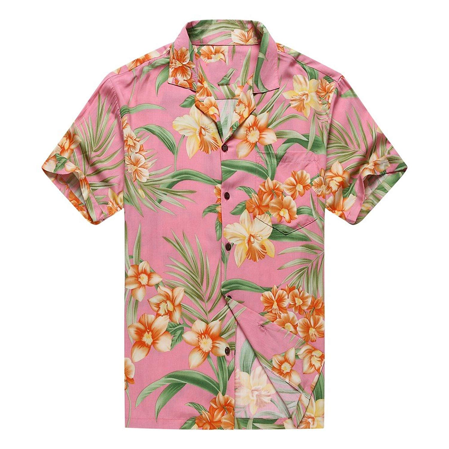 6c432b56 Get Quotations · Made In Hawaii Men's Hawaiian Shirt Aloha Shirt Orange  Floral With Green Leaf In Pink