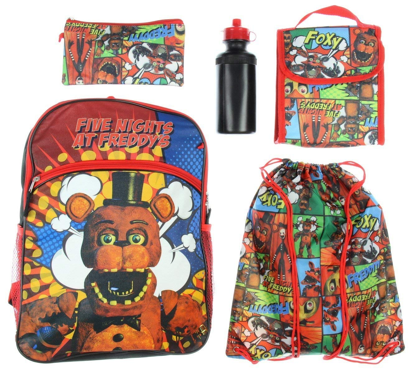 441b393e0ff Get Quotations · Five Nights At Freddy s Backpack Kids 5 PC Lunch Box Water  Bottle Cinch Bag Set