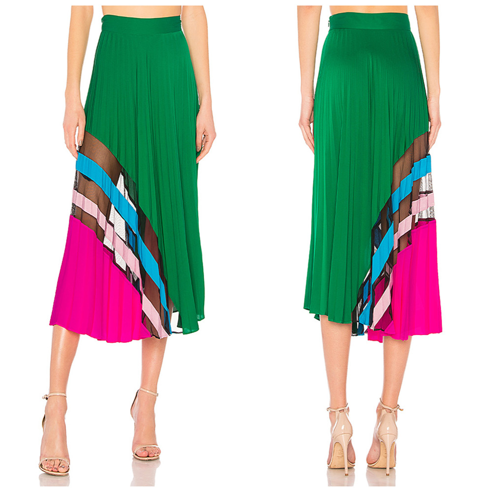 Lady Elegant Silk Summer Long Maxi Skirt Perspective Beach Pleated Skirt
