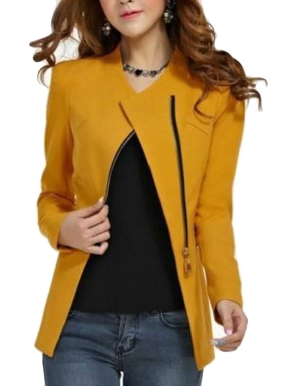 M&S&W Women Blazer, Work Office Zipper Blazer Open Front Jacket Long Sleeve Cardigan