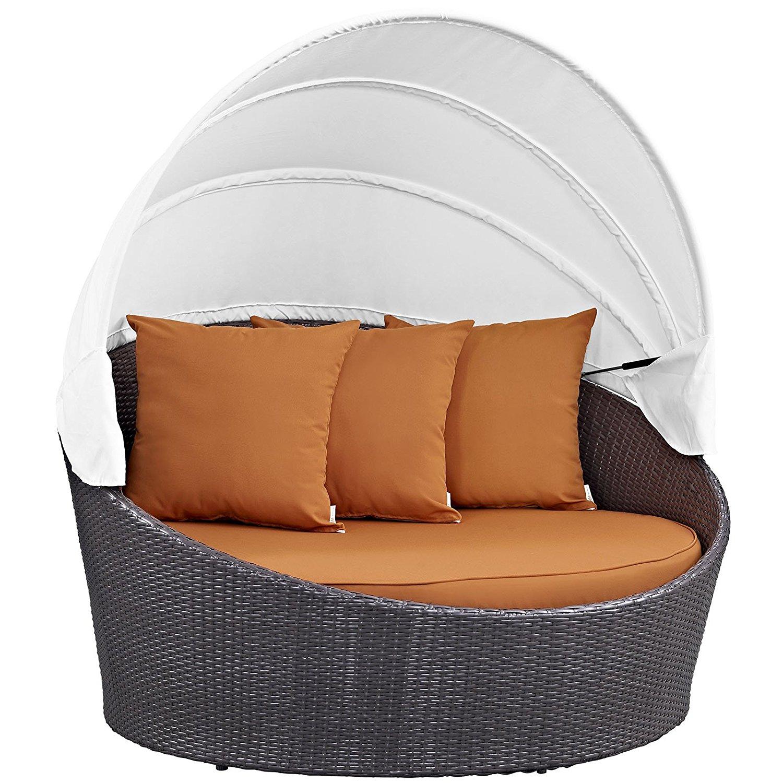 Modway Convene Wicker Rattan Outdoor Patio Canopy Daybed in Espresso Orange