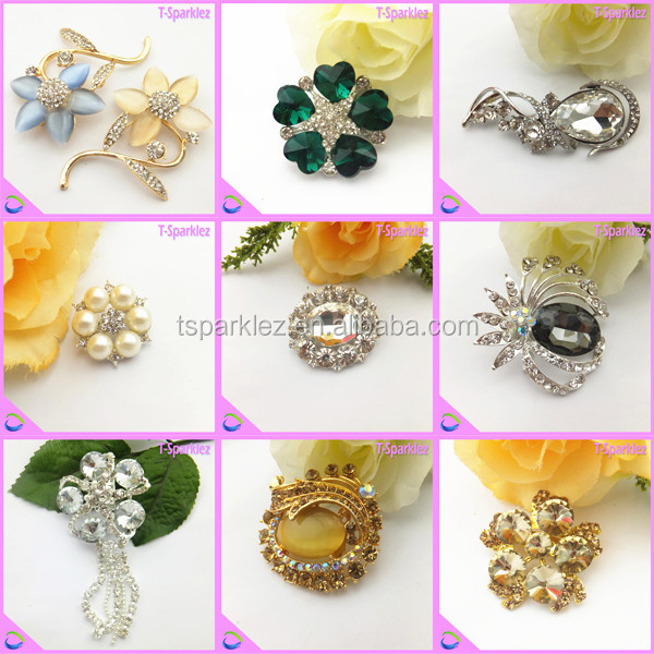 Charming Cheap Clear Crystal Brooch for Wedding Bouquet
