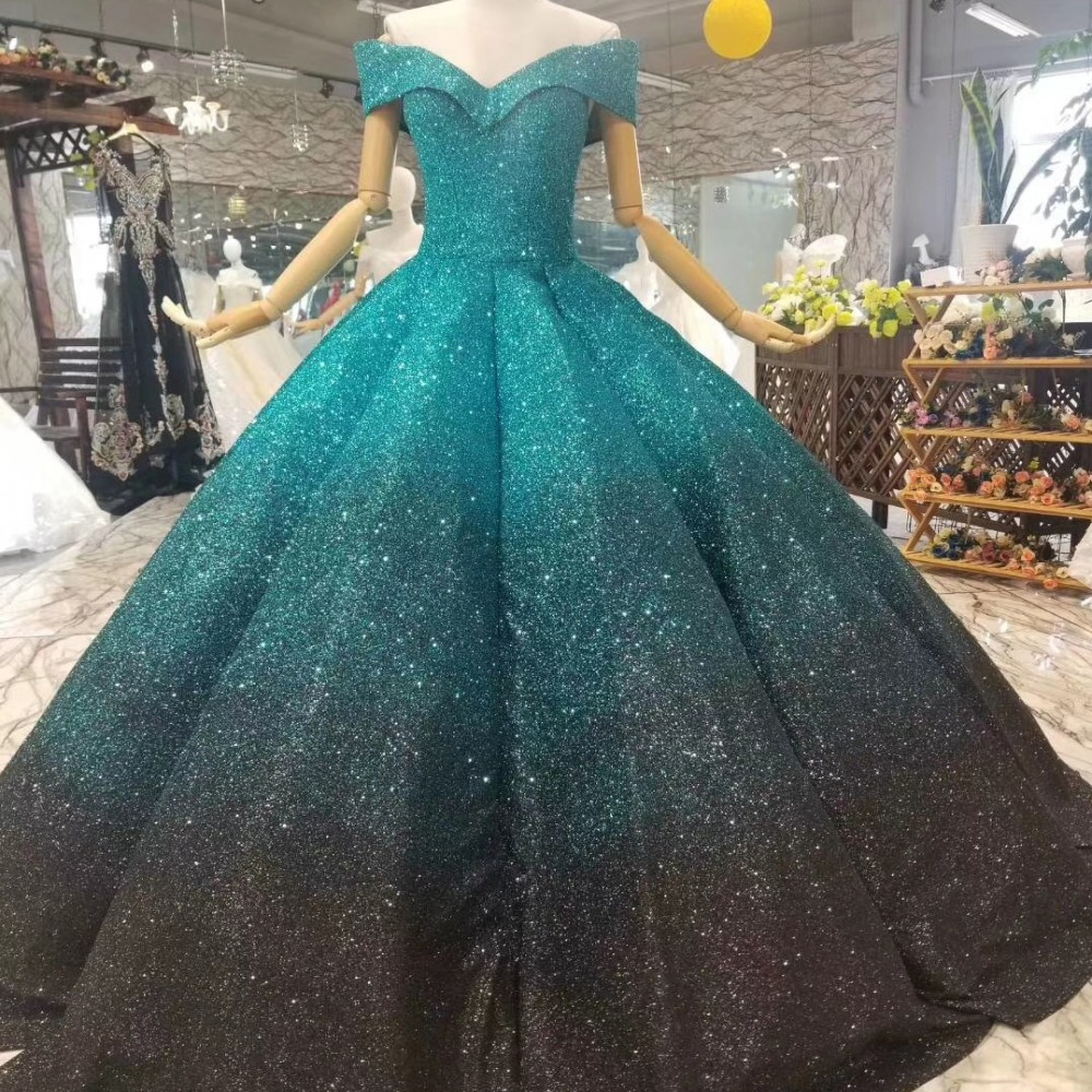 Puffy Folds Emerald Green Evening Dresses Shining Small V Neck Corset Lace Up Ball Gown Prom Dress Pageant Dress