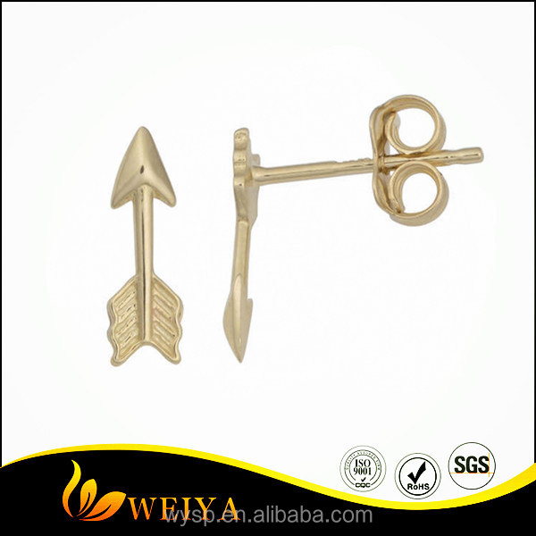 Fashion Earring Designs New Model 14k Gold High Polish Arrow Stud Earrings