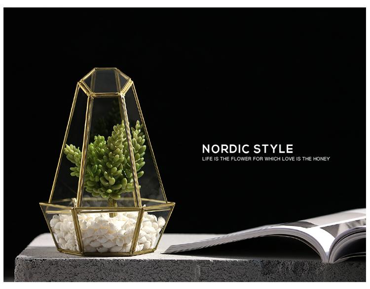 Indoor gardening handmade geometric glass terrarium for modern planter 5