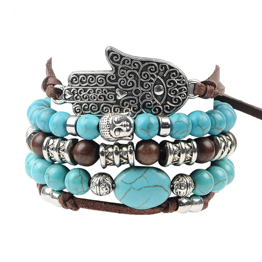 Personalized Customized Hot Sale Womens Mother Turquoise Beads Fatima Charms Bracelet