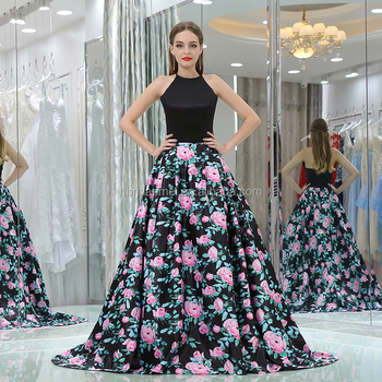 8e308e181e Customized Charming Women Party Wear Evening Dress Sexy Backless Black  Floral Printed Satin Muslim Evening Dress For Ladies - Buy Muslim Evening  ...