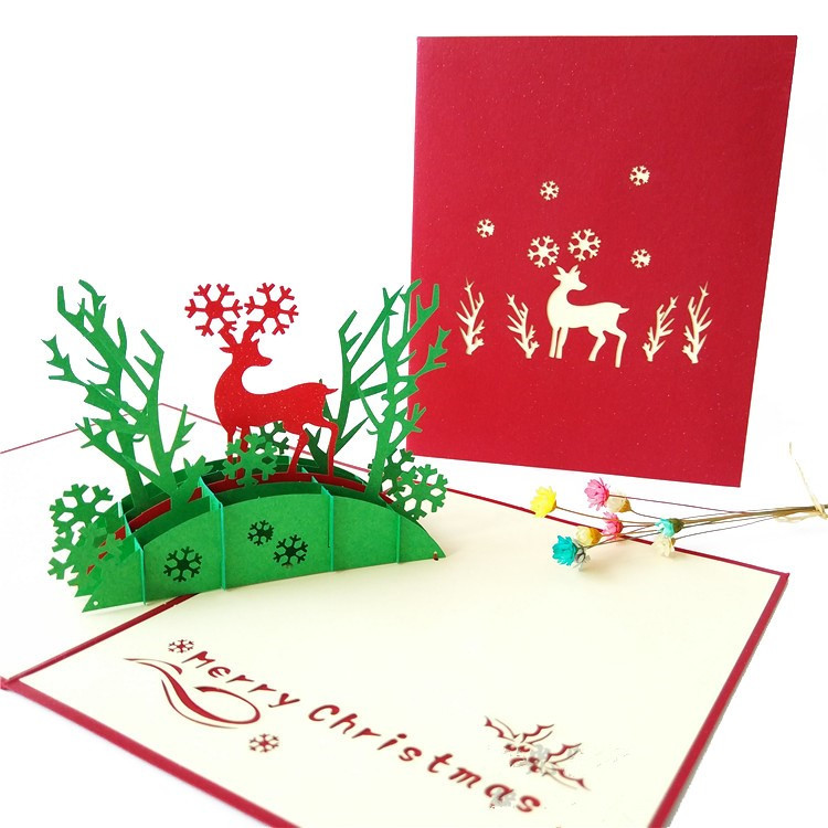 Bands Without Stones Dependable Handicraft 3d Holiday Greeting Cards Santas Sleigh Deer Pop Up Thanksgiving Invitations Card Jewelry & Watches