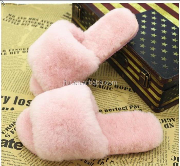 new style warm soft lambskin fur women slippers