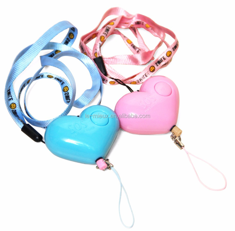 Heart Shaped 90db High SoundAnti Rape Anti Riot Personal Security <strong>Alarm</strong> with Lanyard Flashlight