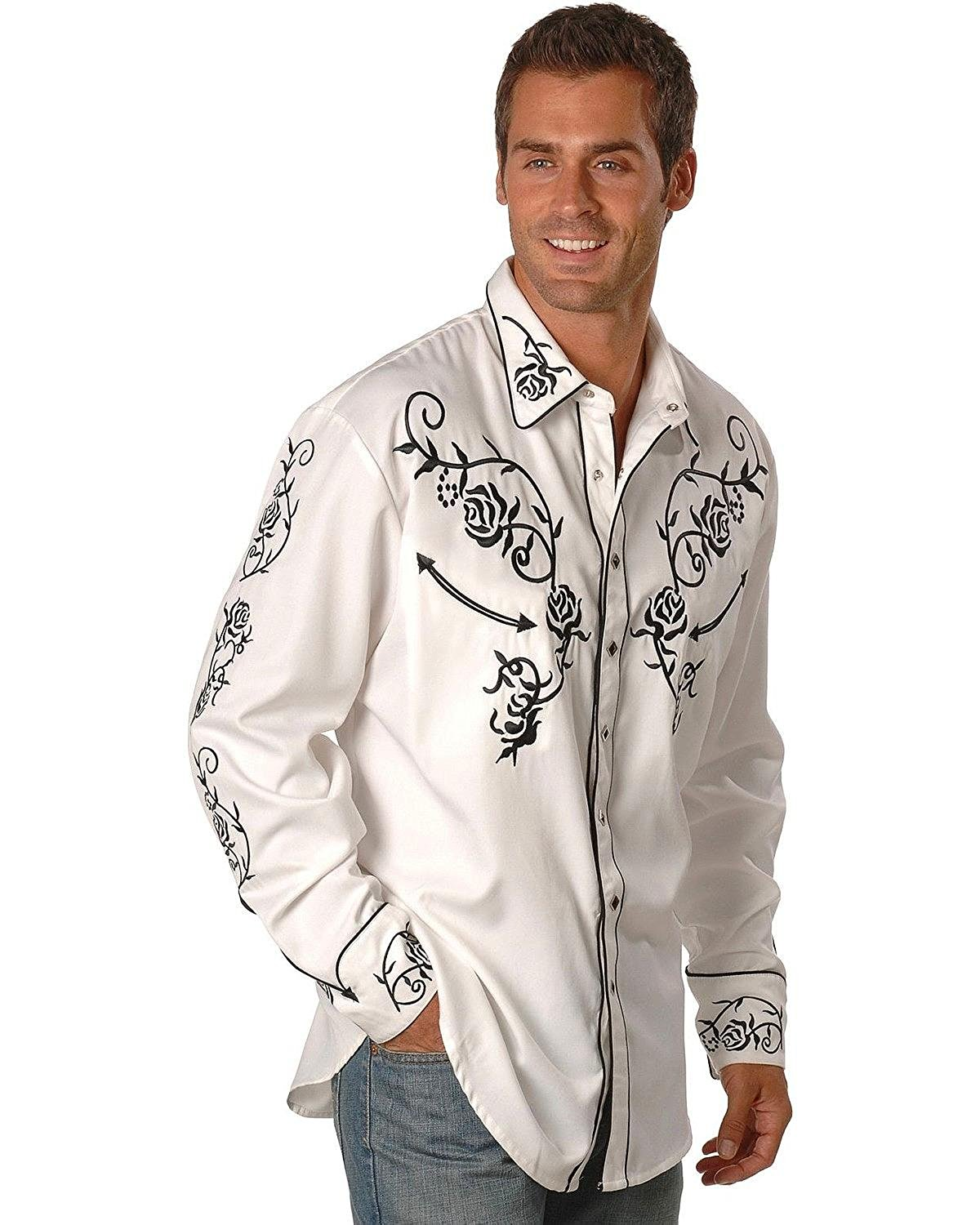 bf235e15 Buy Scully Mens Floral Embroidered Vintage Western Shirt in Cheap ...