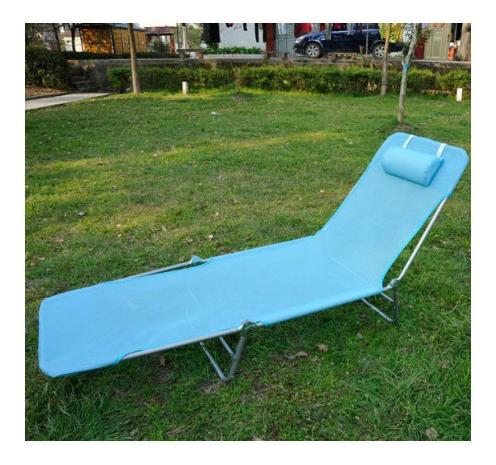 Blue Outdoor Folding Reclining Beach Sun Patio Chaise Lounge Chair Pool Lawn Lounger