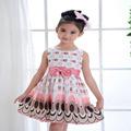 summer Kid Girls dress Chiffon Polyester girl Bow Belt lovely peacock mini dress infant Circle Sleeveless
