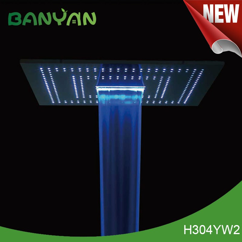 Save water rectangle led color change shower