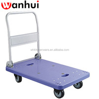 Foldable plastic platform trolley