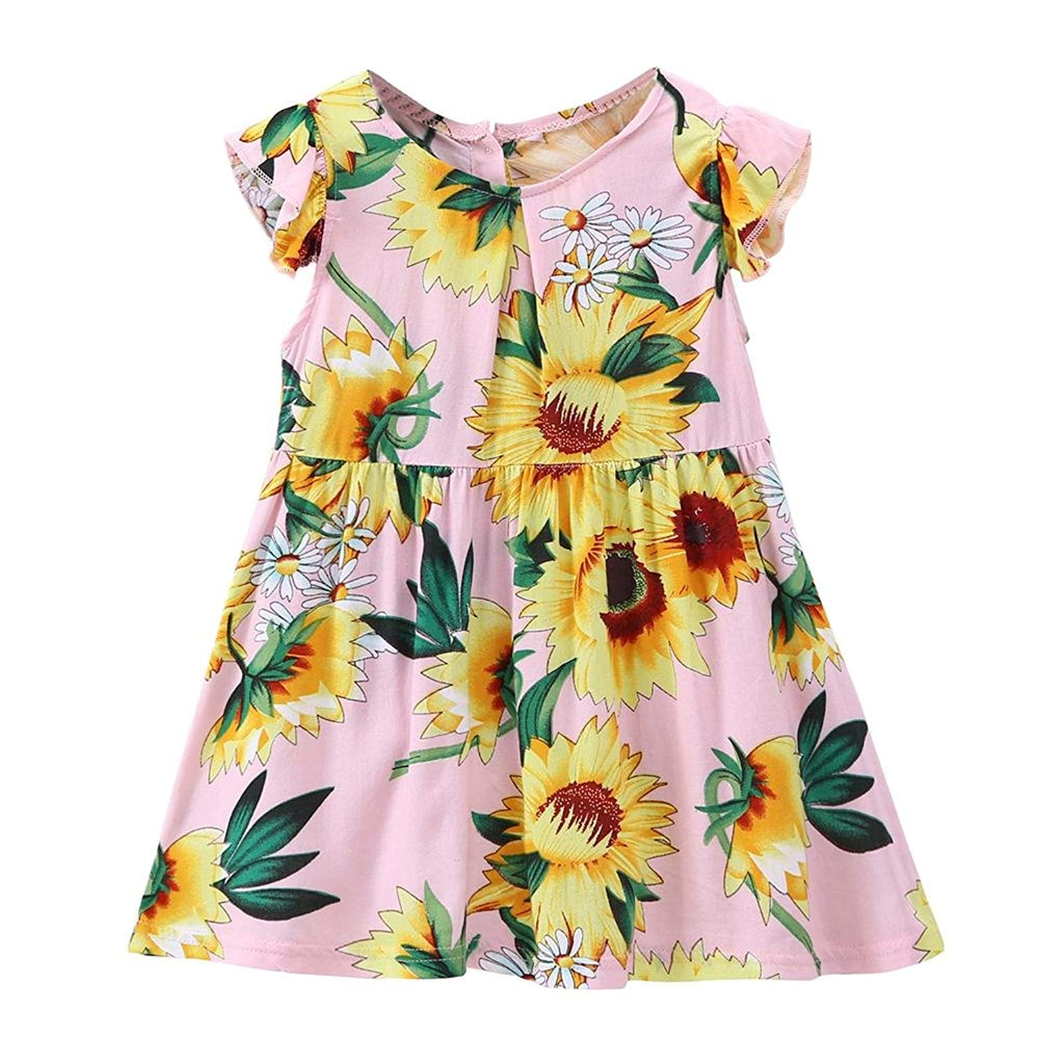 chinatera Baby Girls Princess Dress Toddlers Sunflower Print Long Sleeve Dresses Outfits Clothes Fall