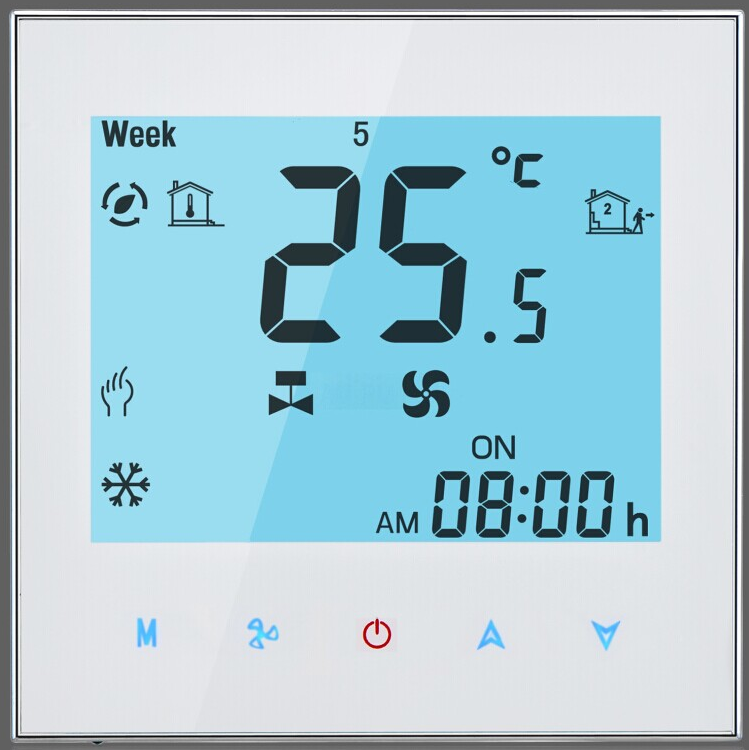 BECA 95~240VAC Two Pipe Touch Screen Weekly Programmable HVAC Wi-Fi Room Thermostat