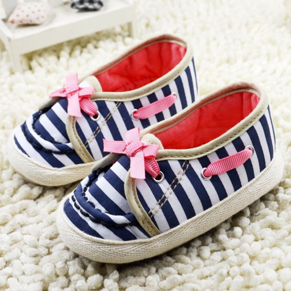 Newborn Princess Toddler Bow Striped Baby Shoes Soft Sole Toddler Crib Shoes